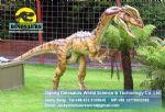 Jurassic sized animatronic animal robot in park (Dilophosaurus) DWD129